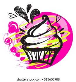 Hand-drawn illustrations of cakes on white background with bright pink brush silhouette. Wallpaper baked desserts for girls. Cute modern illustration