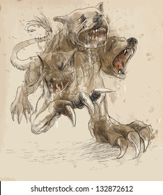 An hand-drawn illustrations (converted into vector - 4 layers) in ancient Greek myths and legends:CERBERUS (in Greek and Roman mythology is a three headed dog which guards the gates of the Underworld)