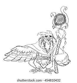 Hand-drawn image of a fabulous old owl shaman cloak, tunic and with his staff and Dreamcatcher. Magic Linear vector illustration for coloring children and adults.