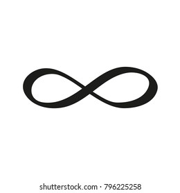 Hand-drawn infinity symbol icon. Irregular shape. Isolated on white background. Vector illustration. Eps 10.