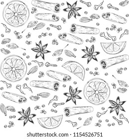 Hand-drawn ingredients for making mulled wine. Cinnamon sticks, cardamom, orange, cloves and allspice. Vector drawing.