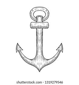 Hand-drawn isolated anchor. Vector cartoon illustration.