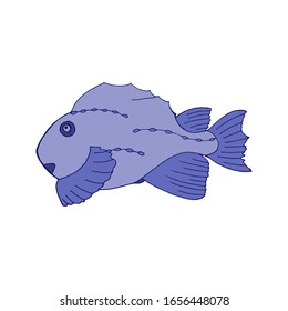 Hand-drawn isolated color fish vector illustration for sticker and shirt. Cute cartoon blue fish.