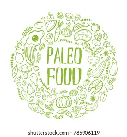 Handdrawn isolated lettering element. Paleo food label created with grunge effect. Unique design for ads, signboards, packaging and identity, web designs,  restaurant menu design. Vector illustration.