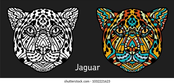Hand-drawn Jaguar with ethnic doodle pattern. Coloring page - zendala, design for spiritual relaxation for adults, vector illustration, isolated background.