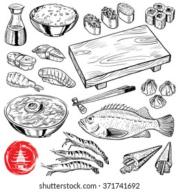 hand-drawn Japanese food set