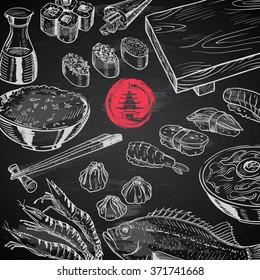 hand-drawn Japanese food set on chalkboard