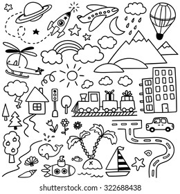 hand-drawn kids doodle set