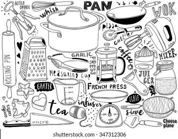 hand-drawn kitchen utensils doodles