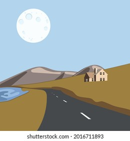 hand-drawn landscape of gloomy weather, road, house among the fields and mountains, river and moon for poster, postcard, wallpaper, print on fabric