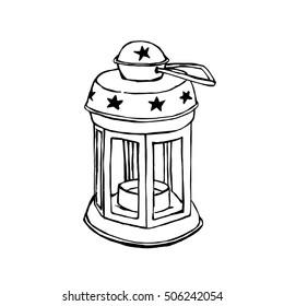 Hand-Drawn Lantern Isolated On White Background, Vector Illustration