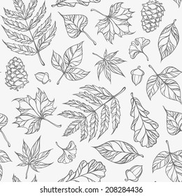 hand-drawn leaves seamless pattern