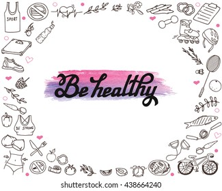 Hand-drawn lettering and healthy life doodles. Line art text and different objects isolated on the white background.
