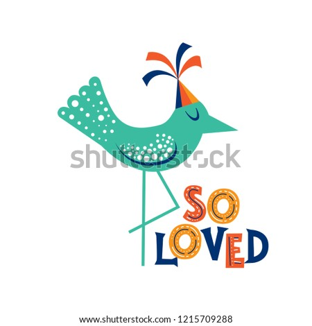 Handdrawn Lettering Quote Loved Cute Bird Stock Vector Royalty Free