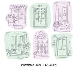 hand-drawn line doors spot set