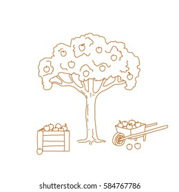 A hand-drawn line-art of apple-tree with yellow apples in a pushcart and a wooden box