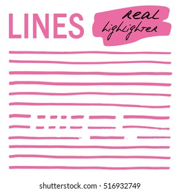 Hand-drawn lines - real highlighters. Pink. Vector big set. Isolated on white background. Use for note, illustrations and decorations texts, articles, slideshow etc. Eps 10