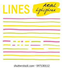 Hand-drawn lines - real highlighters. Yellow, green and pink. Vector big set. Isolated on white background. Use for note, illustrations and decorations texts, articles, slideshow etc. Eps 10
