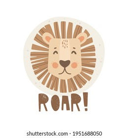 """Hand-drawn lion portrait. Handwritten lettering """"roar"""". Abstract background with dots. Vector illustration in Scandinavian style. Simple shapes with texture. Print design. Poster for nursery, t-shirt"""