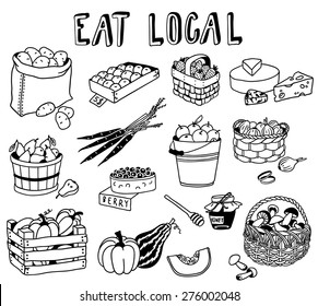 hand-drawn local food doodles