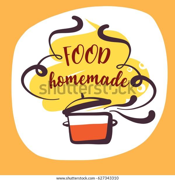 Handdrawn Logo Delicious Homemade Food Recipe Stock Vector ...