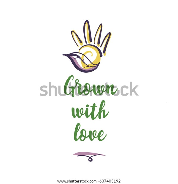 Handdrawn Logo Vegetable Market Shop Store Stock Vector