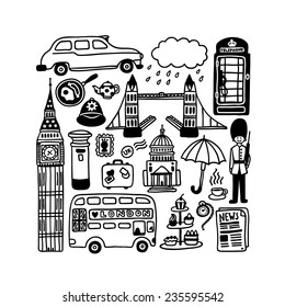 hand-drawn London doodles