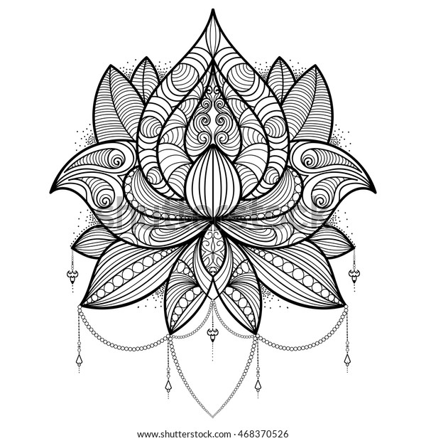 Handdrawn Lotus Flower Coloring Book Tattoo Stock Vector Royalty
