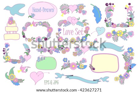Handdrawn Love Wedding Flower Clipart Love Stock Vector Royalty