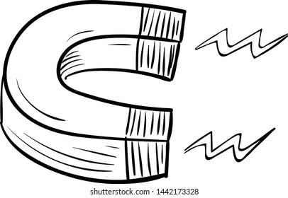 Handdrawn magnet doodle icon. Hand drawn black sketch. Sign cartoon symbol. Decoration element. White background. Isolated. Flat design. Vector illustration.
