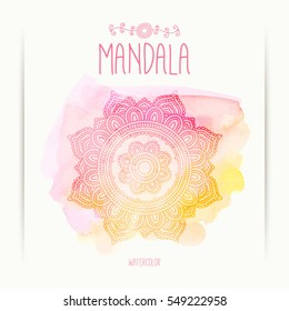 Hand-drawn mandala on the watercolor background. Greeting, invitation card. Lace Indian ornament. Henna design. Mehndi style. Elements for design. Vector illustration.