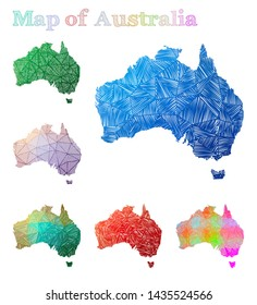 Hand-drawn map of Australia. Colorful country shape. Sketchy Australia maps collection. Vector illustration.