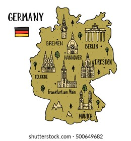 Handdrawn map of Germany with main symbols and lettering of main cities.  Poster design or postcard illustration.