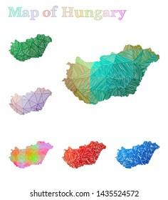 Hand-drawn map of Hungary. Colorful country shape. Sketchy Hungary maps collection. Vector illustration.