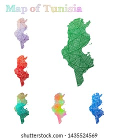 Hand-drawn map of Tunisia. Colorful country shape. Sketchy Tunisia maps collection. Vector illustration.