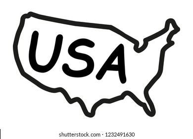 Hand-drawn map of the United States of America. Vector illustration.