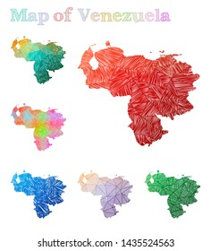 Hand-drawn map of Venezuela. Colorful country shape. Sketchy Venezuela maps collection. Vector illustration.