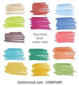 Hand-drawn marker stains. Colorful stripe design element set. Vector illustration.