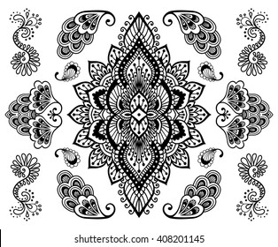Hand-drawn mehendi ornament collection. Indian henna tattoo set. Oriental style decorative design templates. EPS 10 vector illustration. Isolated on white.