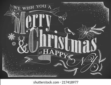 hand-drawn Merry Christmas card on chalkboard