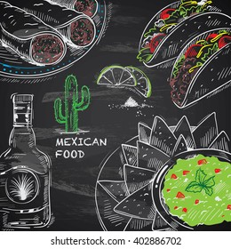hand-drawn mexican food on chalkboard