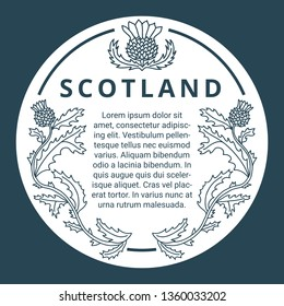 Hand-drawn monochrome vector frame with sample text and thistle flower decoration. Scotland tourism concept. Round design element for sticker, label, screenprint, drink coaster.