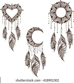 Hand-drawn moon sun heart mandala dreamcatcher set with feathers. Ethnic illustration, tribal, American Indians traditional symbol.
