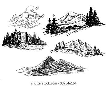 Hand-drawn Mountains Illustration