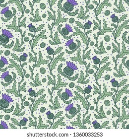 Hand-drawn multicolor vector seamless pattern with Scottish thistle flower. Scotland tourism concept. Design element for wrapping paper, fabric, stationery, decor, souvenir shop.