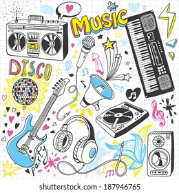 Hand-drawn music doodles
