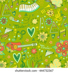 Hand-drawn music instruments and ornamental floral elements in 60s style. Vector seamless pattern design template.