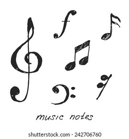 Hand-drawn music notes. Vector illustration.