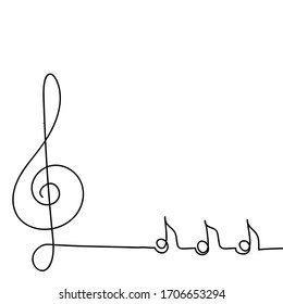 Hand-drawn musical concept. Poster of a musical concert or festival. Continuous drawing of a single line, a vector design template in a linear style. Abstract hand. Treble clef and notes