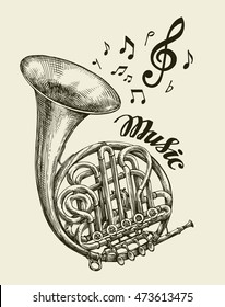 Hand-drawn musical french horn. Sketch vintage trumpet. Vector illustration